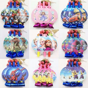 6pc/set Minions Spiderman Averages Trolls Birthday Blowout Whistles Kids Birthday Party Favors Decoration Supplies