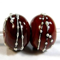 Red Flint Handmade Lampwork Glass Beads Silver Jewelry Supplies 653gfs