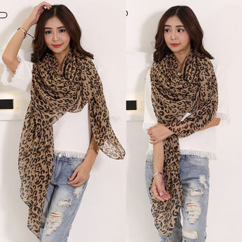 Women Long Style Wrap Lady Shawl Leopard Chiffon Scarf Scarves Stole Clothing