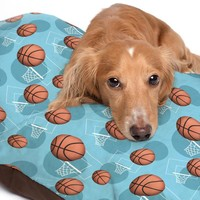 Light Blue Basketball Themed Pattern Pet Bed - 3 Sizes