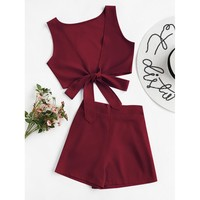 Knotted Multiway Crop Tank Top With Shorts - Burgundy