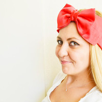 Red Turban Headband, Boho Headband, Satin Headband, Bow Tie Hairband for Woman and Girls