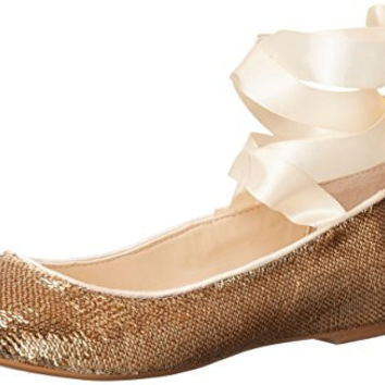BLUE BY BETSEY JOHNSON WOMENS SB-LARK BALLET FLAT, GOLD SEQUIN, 7 M US
