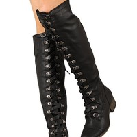 Military Lace Up Over the Knee High Boots Vegan Leather