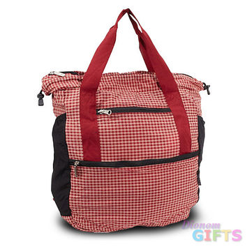 Travelon Stow-Away Convertible Tote or Backpack Duo (Red Plaid)