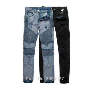 2017 CosMaMa Brand mens hip hop fancy rock star super slim skinny fit pleated biker destroy denim ripped hole jeans pants