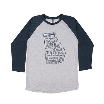 Georgia I Come From A Place Raglan Tee Shirt by Southern Roots