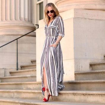Black And White Striped Maxi Shirt Dress