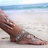 Vintage Style Antique Coin Chain Anklet Charm