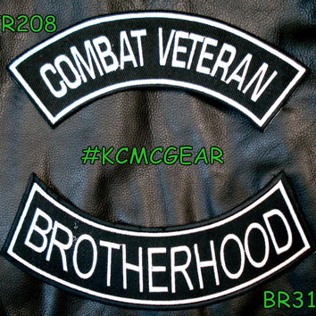 Combat Veteran Brotherhood Embroidered Patches Sew on Patches for Jackets 	Military Patch Set