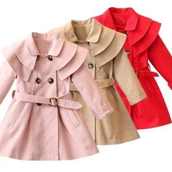 Girls Long Sleeve Solid Double-Breasted Coat