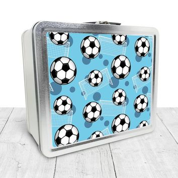 Blue Soccer Lunch Box - Sports Soccer Ball Pattern on Blue, Tin School Lunch Art Craft Supplies Box, Chalkboard inside - Made to Order