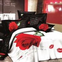 300 Thread Count Black Red Rose Flower Sexy Lip Printed Queen Bedding Set Cotton Bed Linens Duvet Covers Comforter Covers (Queen)