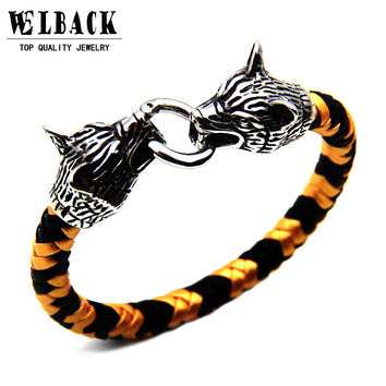 Wolf Head Hand Made Braided Bracelet Stainless Steel Punk Jewelry