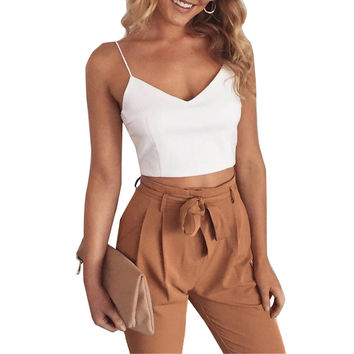 2017 Spring women sets 2 pieces long pants suit v neck camis tank tops white Sexy Casual work wear Drawstring free shipping