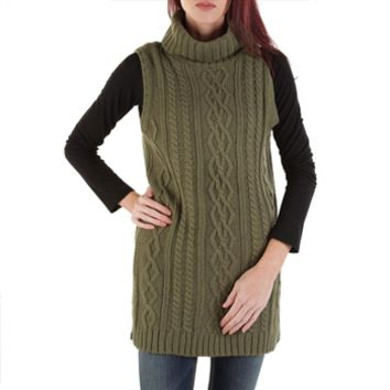 Taylor & Sage Juniors Cable Knit Sleeveless Cowl Neck Sweater at Von Maur