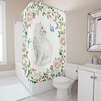 Cat & Roses Shower Curtain