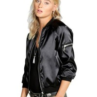 Solide Full Sleeve Women Jacket Autumn Zippers O-Neck Casual Black Top 2016 Women Slim Satin Drill Fall Casual Jacket New Tops