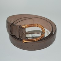 NWT GUCCI MENS OSTRICH LEATHER SILVER HARDWARE BAMBOO BELT SIZE 80 32