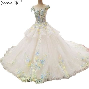 Newest Colored Flowers High-end Wedding Dresses 2018 Appliques Pearls Sexy Fashion Bridal Gown Vestido De Noiva