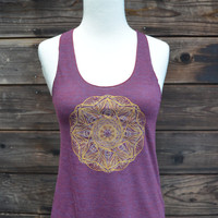 Tri-Cranberry Racerback Tank - Psychedelic Glow in the Dark and Gold Mandala Design - Sacred Geometry - Yoga Wear