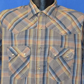 80s Levi's Plaid Pearl Snap Tapered Western Shirt Large