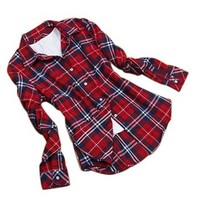 OQC Women's Lapel Campus Casual Plaids Shirt Slim Fit Flannel Charming Top Blouse