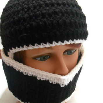 Crochet Knight's Helmet Face Mask Beanie Hat in Black with White trim