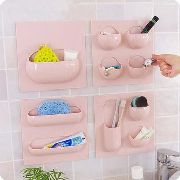 Styles Wall Suction Cup Kitchen Bathroom Storage Rack Can Use Repeatedly Bathroom Organizer Storage