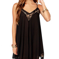 Spaghetti Strap Lace Pleated Mini Dress