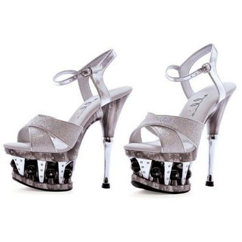"""6"""" CROSSED STRAP WITH DISCO BALL PLATFORM"""