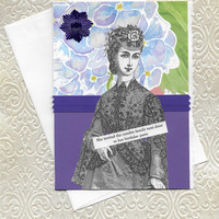 Silly Birthday Card for Zombie Lovers - Victorian Style Woman - You Can Only Eat Birthday Cake NOT Brains