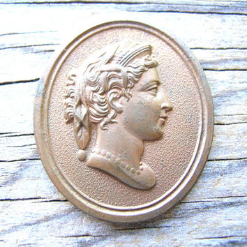 Antique Brass Cameo - Solid Brass Cameo - Vintage Cameo - Detailed Cameo - Right Facing Cameo - Antique Cameo