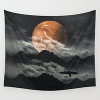 Spaces III - Mars above mountains Wall Tapestry by Dirk Wuestenhagen Imagery