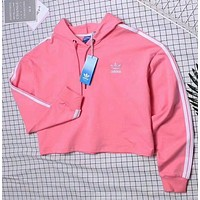 """Adidas"" Fashion Hooded Top Pullover Sweater Sweatshirt Hoodie Pink"