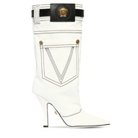 White Denim Boots by Versace