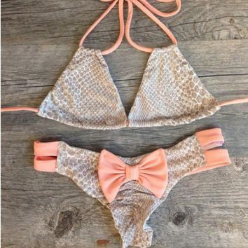Cute bow orange scale two straps bikini