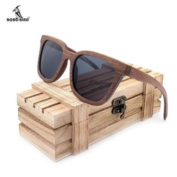 DCCKON3 BOBO BIRD Black Walnut Wooden Polarized Sunglasses Mens Vintage UV Protection eyewear women Bamboo glasses in Gift Box