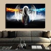 Anime Angel Girl Wings Ice and Fire Poster and Digital Printed Wall Art Picture for Living Room Home Decoration Gift Frameless