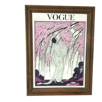 Vintage Vogue Painted Mirror, 1919 Magazine Cover, Art Nouveau, Fashion Illustration, Advertising, Art Deco, Pink Blossom Trees
