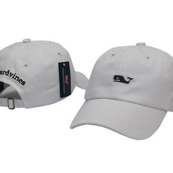 White Vineyard Vines Women Men Embroidery Sports Sun Hat Baseball Cap Hat