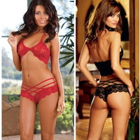 Hot Women's Sexy Lingerie Lace Dress Underwear Black Babydoll Sleepwear G-string = 1932865668