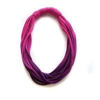 Ombre T Shirt Necklace, Cotton Necklace in fuchsia and purple, T-shirt Infinity Necklace