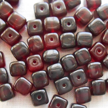 Lot of 25 Dark Garnet Red Cube Beads, 5 x 7mm Czech glass beads, C6125