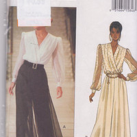 Pattern for Jessica Howard special occasion, evening length pantsuit loose fitting, wrap front misses size 6 8 10 Butterick 6701 UNCUT
