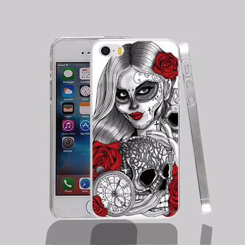 mexican skull transparent Cover cell phone Case for iPhone 4 4S 5 5S 5C 6 6S Plus 6SPlus