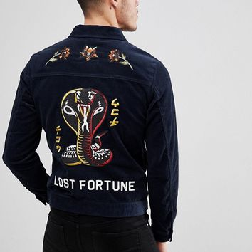 Jack & Jones Originals Cord Jacket With Embroidery at asos.com