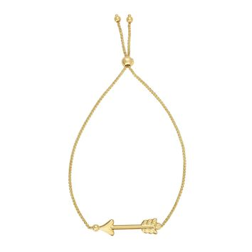 14k Yellow Gold Adjustable Arrow Charm Bolo Bracelet, 9.25""