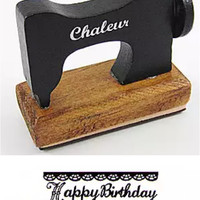 Vintage Sewing Machine Wooden Rubber Stamp - Happy Birthday - Great for Scrapbooking Cardmaking and as Party Favors