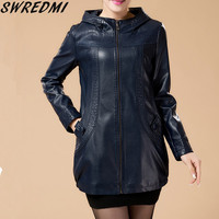 Plus Size L-6XL Women Leather Jacket New Long Leather Coat  Ladies Leather Clothing 2017 Autumn Winter Jackets And Coats Blue